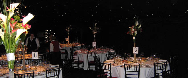 Marquee Equipment and extras for hire - tables, chairs, tablecloths, lightin, picket fencing